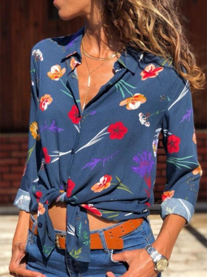 Navy Blue Floral Print Single Breasted Turndown Collar Long Sleeve Fashion Blouse