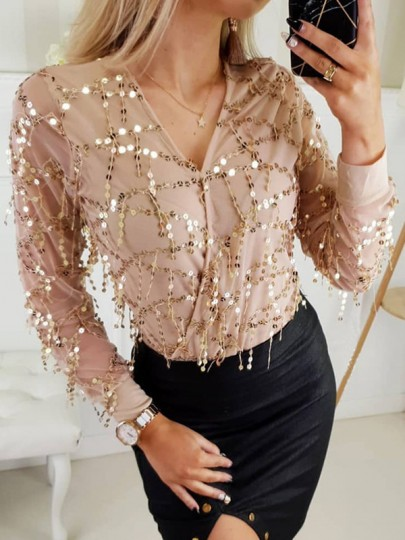 Beige Patchwork Sequin Sparkle V-neck Long Sleeve Chiffon Evening Tops For New Years Party Blouse