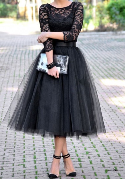 Black Grenadine Pleated High Waisted Tulle Tutu Homecoming Party Cute Elegant Skirt