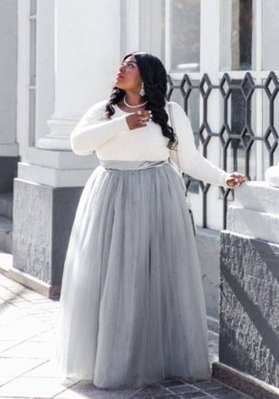 32b8c0391cf0d2 ... Adorable Tutu Long Skirt Grey Grenadine Pleated High Waisted Plus Size  Fluffy Puffy Tulle