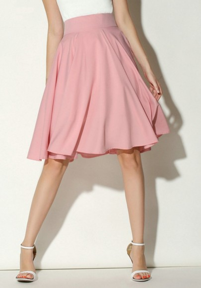 Pink Draped Zipper Vintage High Waisted Knee Length Sweet Cute Going Out Pleated Silk Clothes Midi Skirt