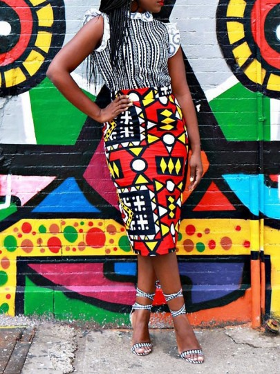 Red Tribal Print Bodycon High Waisted Elegant Party Skirt