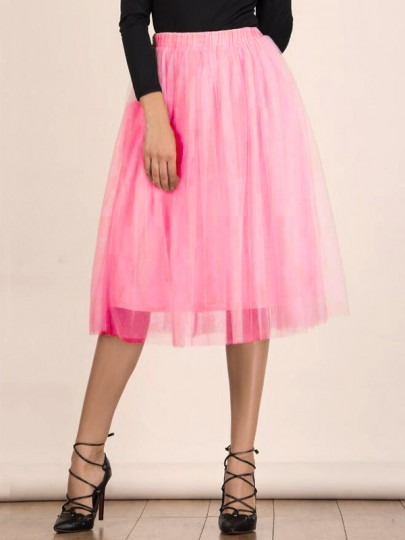 Pink Patchwork Grenadine Pleated High Waisted Sweet Skirt