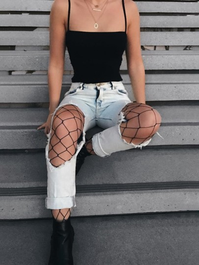 Light Blue Cut Out Match Fishnet Tights High Waisted Pencil Ripped Jeans