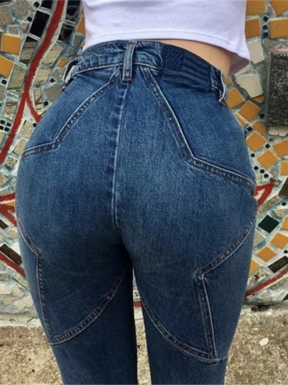 Dark Blue Five-pointed star Patchwork High Waisted Long Jeans