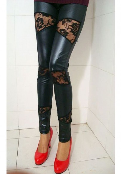 Black Patchwork Hollow-out Lace Elastic Waist Casual Legging