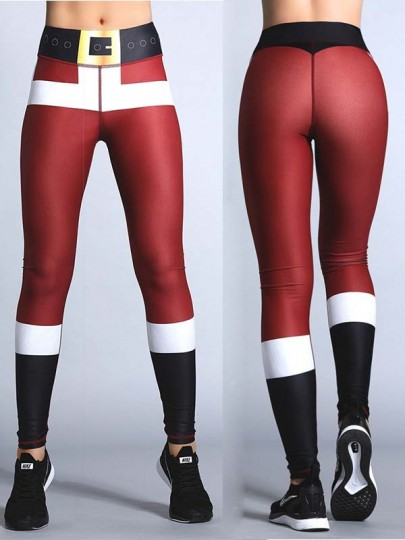 Black Patchwork Yoga Christmas Sports Santa Workout Legging