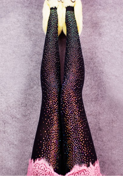 Multicolor Patchwork Rhinestone Elastic Waist Fashion Long Leggings