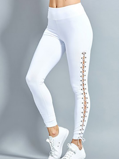 White Patchwork Drawstring Mid-rise Casual Legging
