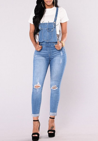 Blue Pockets Buttons Shoulder-Strap Ripped Fashion Overall Denim Long Jumpsuit Pants
