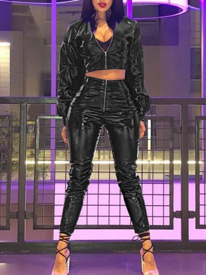 Black Zipper PU Leather High Waisted Two Piece Rubber Casual Long Birthday Party Club Jumpsuit