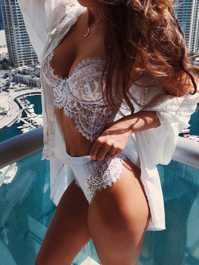 White Cut Out Lace Bodycon Deep V-neck Two Piece Short Jumpsuit Pants