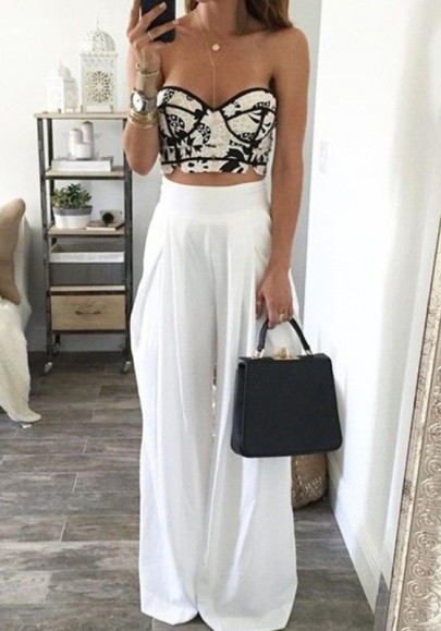 White Plain Pleated Elastic Waist High Waisted Long Pants