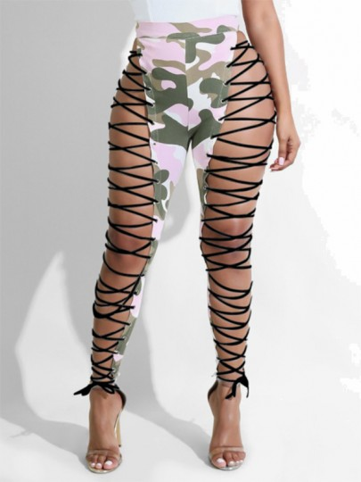 Pink Camouflage Print Cut Out Irregular Camo Lace-Up High Waisted Club Long Pants