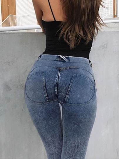 Blue Patchwork Pockets Buttons Skinny Low-rise Fashion Jeans Pant