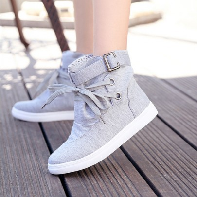 Grey Round Toe Flat Casual Ankle Canvas Shoes