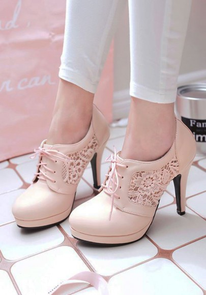 Pink Round Toe Stiletto Hollow-out Fashion High-Heeled Shoes