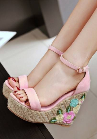 Pink Piscine Mouth Fashion Floral Print Wedges Shoes
