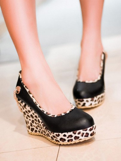 Black Round Toe Leopard Print Casual Wedges Shoes