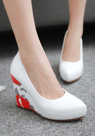 White Round Toe Color Block Print Casual Wedges Shoes