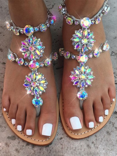 Golden Round Toe Flat Rhinestone Chain Fashion Sandals