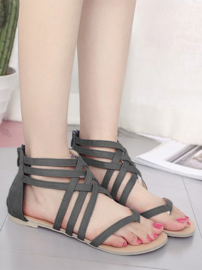 Grey Round Toe Flat Cut Out Cross Strap Casual Rome Sandals