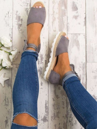 Grey Round Toe Flat Cross Strap Casual Ankle Sandals