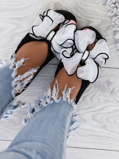 White Round Toe Wedges Bow Fashion High-Heeled Sandals
