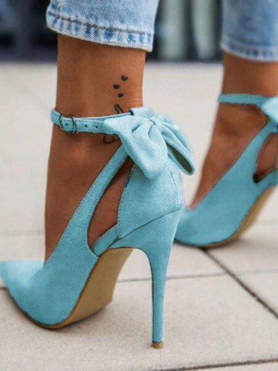 Sky Blue Point Toe Stiletto Bow Fashion Ankle High-Heeled Shoes