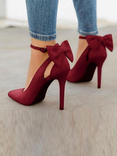 Wine Red Point Toe Stiletto Bow Fashion High-Heeled Shoes