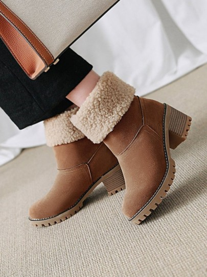 Camel Round Toe Chunky Fashion Mid-Calf Boots