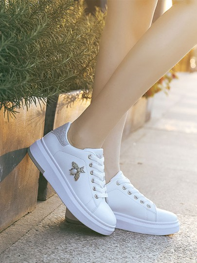 White-Silver Round Toe Flat Sequin Pearl Cross Strap Fashion Shoes