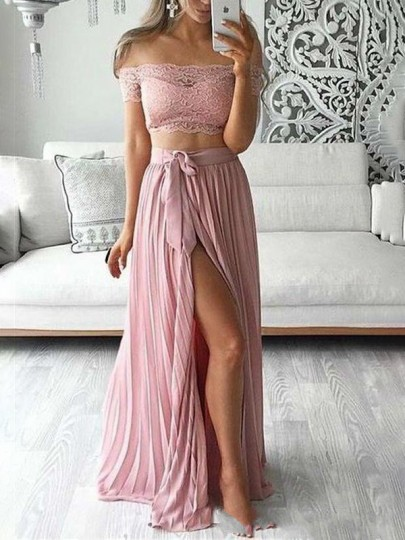 Pink Patchwork Lace Pleated Off Shoulder Two Piece Thigh High Side Slits Prom Evening Party Maxi Dress
