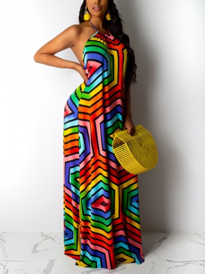 Red Rainbow Striped Halter Neck Backless Pleated Bohemian Beachwear Maxi Dress