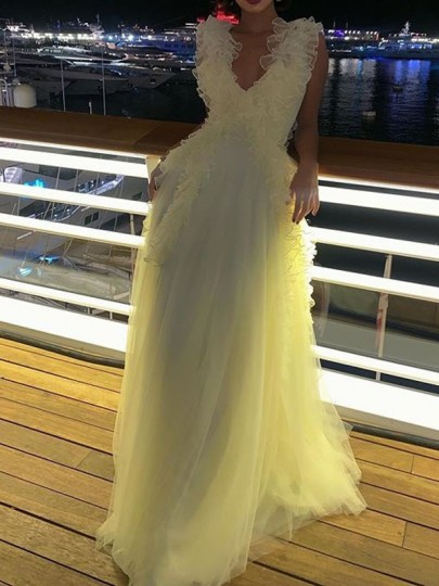 White Patchwork Grenadine Pleated Ruffle V-neck Prom Evening Party Maxi Dress