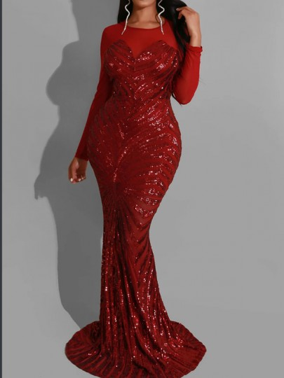 Red Patchwork Grenadine Sequin Bodycon Mermaid Sparkly Glitter Birthday Sheer Prom Evening Party Maxi Dress