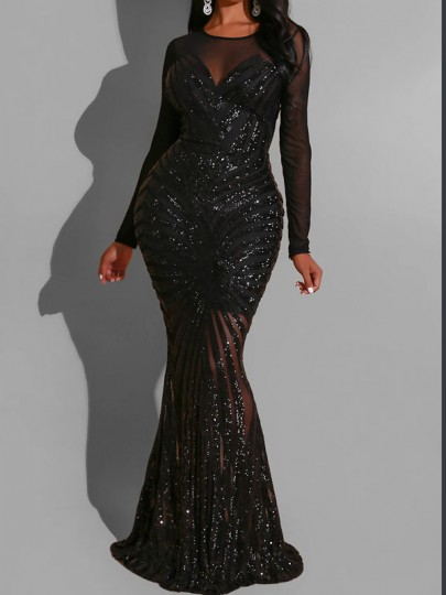 Black Patchwork Grenadine Sequin Bodycon Mermaid Sparkly Glitter Birthday Sheer Prom Evening Party Maxi Dress