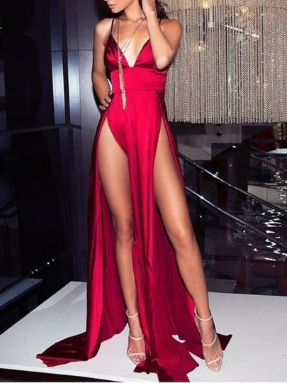 Red Spaghetti Strap Thigh High Side Slits Backless Party Maxi Dress