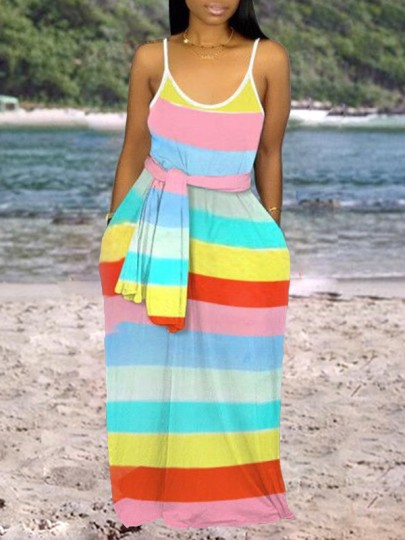 Yellow Rainbow Striped Print Shoulder-Strap Pockets Belt V-neck Beach Flowy Maxi Dress