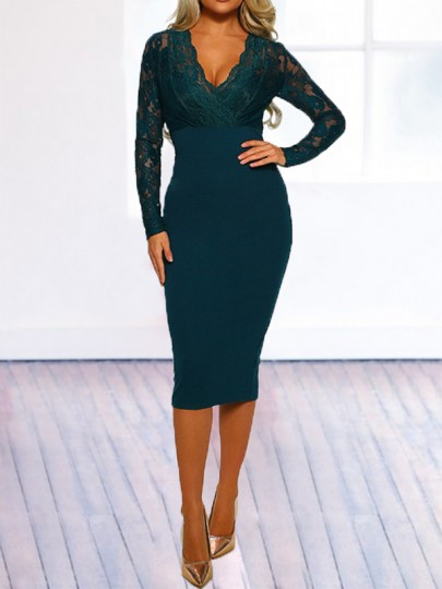 Green Patchwork Lace Backless Bodycon V-neck Long Sleeve Elegant Midi Dress