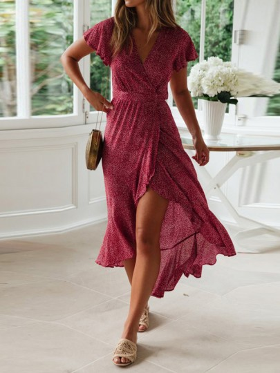 Burgundy Floral Print Ruffle Sashes Short Sleeve V-neck High-Low Hem Vintage Bohemian Beach Midi Dress