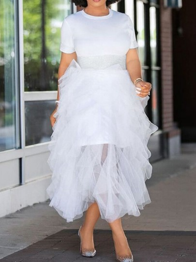 White Irregular Grenadine Two Piece Round Neck High Waisted Tulle Tutu Casual Midi Dress