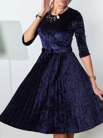 Navy Blue Patchwork Belt Round Neck Elbow Sleeve Elegant Midi Dress
