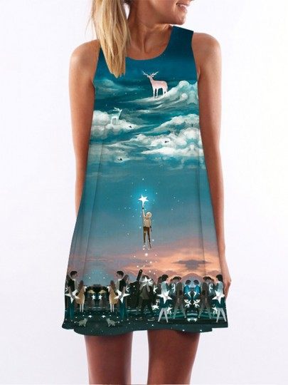 Blue Colorful Sky Print Round Neck Sleeveless Loose Fashion Casual Mini Dress