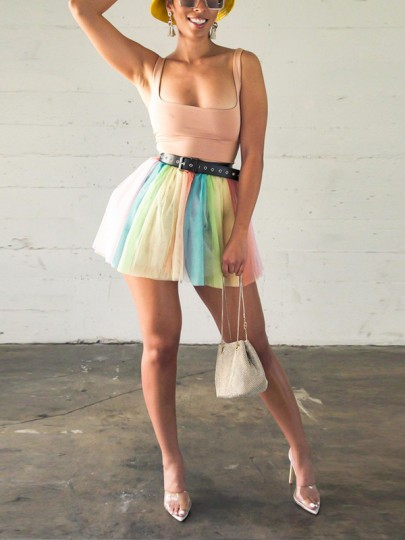 Pink Patchwork Grenadine Two Piece Spaghetti Strap Fluffy Puffy Tulle Homecoming Party Mini Dress