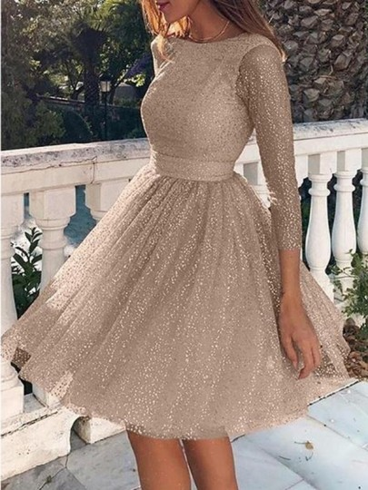 Champagne Bright Wire Backless Bodycon Glitter Sparkly Party Mini Dress