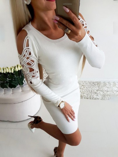 White Cut Out Bodycon One Piece Going out Mini Dress