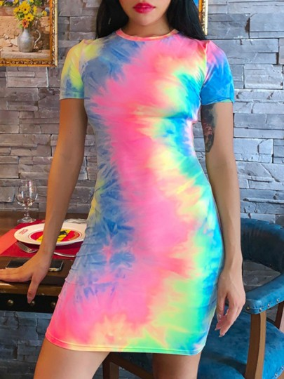 Multicolor Colorful Tie Dye Round Neck Short Sleeve Bodycon Clubwear Cute Mini Dress