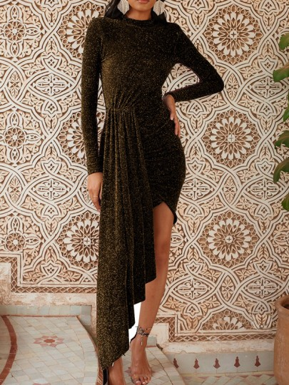 Golden Irregular Sparkly Bodycon Round Neck Long Sleeve Elegant Mini Dress