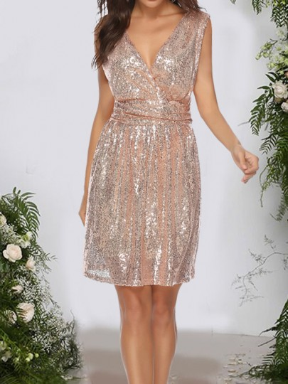 Apricot Sequin Glitter Sparkly Backless V-neck Sleeveless Elegant Prom NYE Party Mini Dress